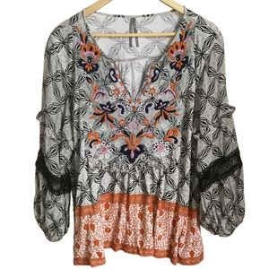 ANTHROPOLOGIE Bohemian Pompom Embroidered Blouse